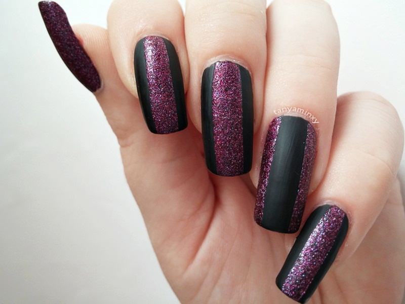 Matte and glitter nails nail art design notd manicure avon stardust radiant rose aura matte top coat