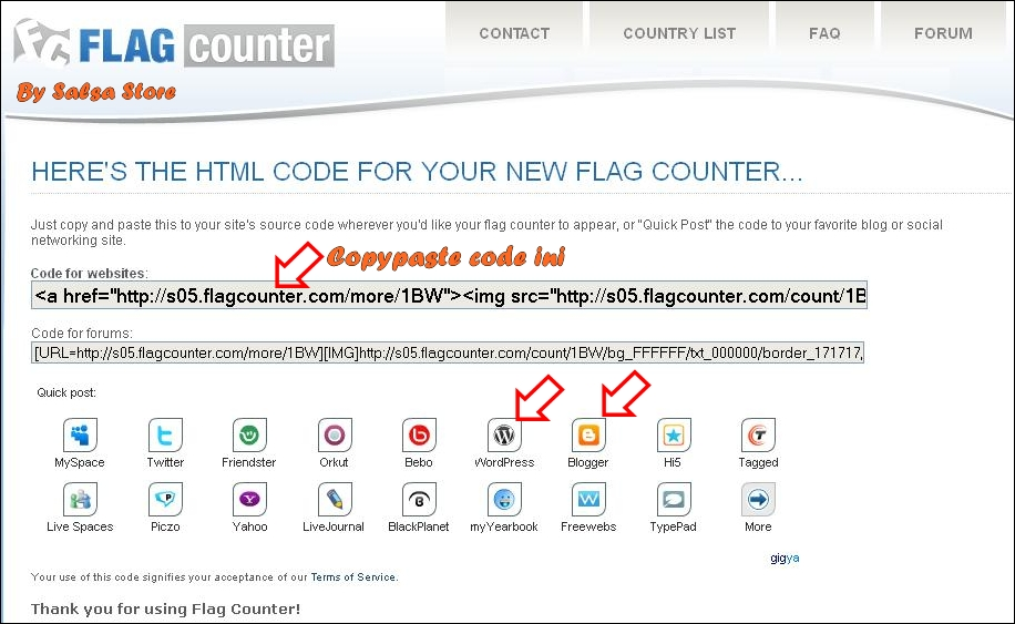 how to add flag counter to blogger