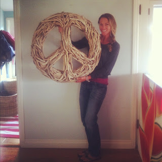 HUGE driftwood peace sign