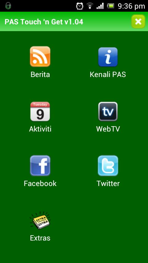 2 Menu Utama PAS Lancar Aplikasi Android Touch `n Get (TnG)