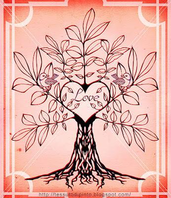 Albero genealogico su sfondo rosa per matrimonio