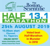Popular half-marathon in Clonmel - Limited places - Sun 25th Aug 2019