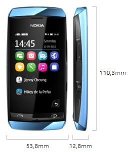 Dimensi Nokia Asha 305