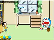 Nobita ném giấy, chơi game hoạt hình doremon vui nhộn