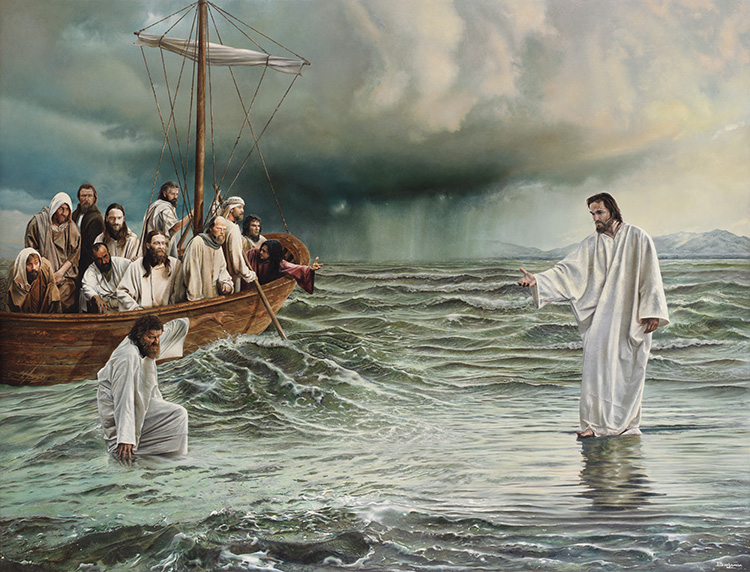 pictures of jesus walking on water. In the gospel story Jesus and Peter walked on the water.