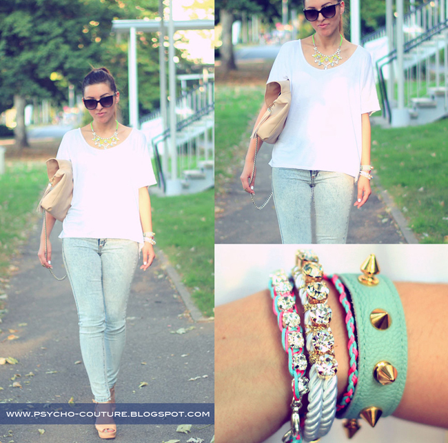mint studded leather bracelet