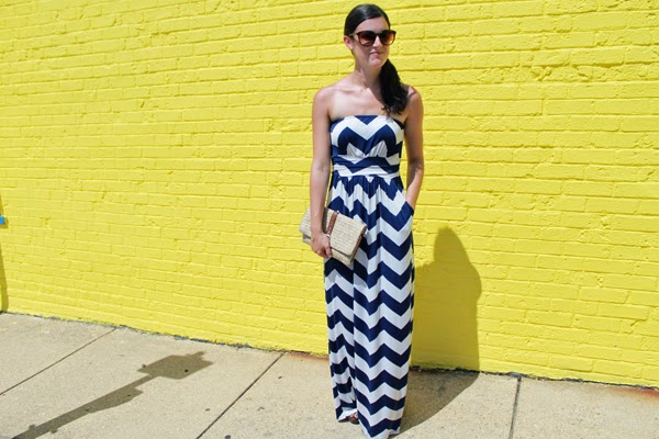 Blue maxi dress, blue chevron maxi dress, Gap clutch, yellow wall
