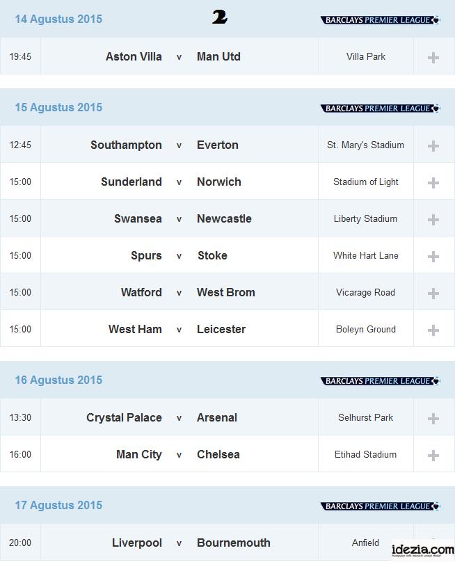 Jadwal Liga Inggris Pekan ke-2 14 15 16 Agustus 2015