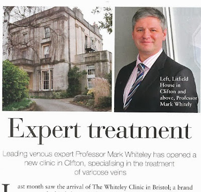 Prof Mark Whiteley featured in The Bristol Magazine - Varicose veins expert coming to Bristol