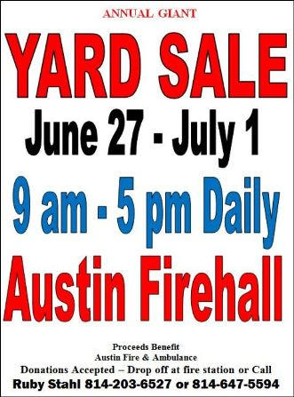 6-27 thru 7-1 Yard Sale Austin VFD