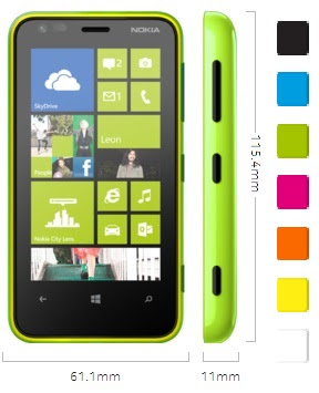 Nokia Lumia 620, dimensiones y colores disponibles