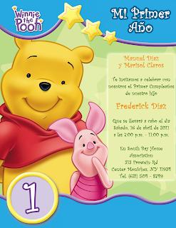 Tarjeta de Invitación Novedosa de Cumpleaños de Winnie Pooh