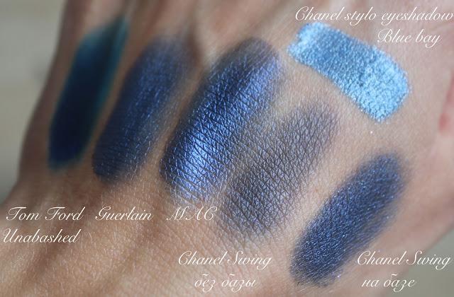 свотчи разных синих теней на руке