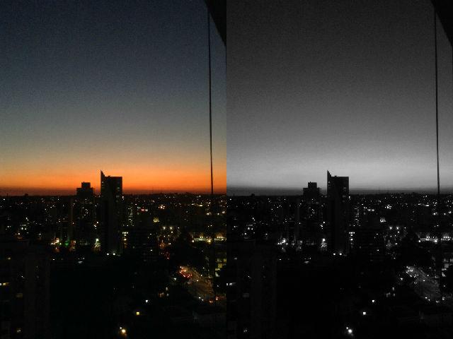 Skyline e por do sol