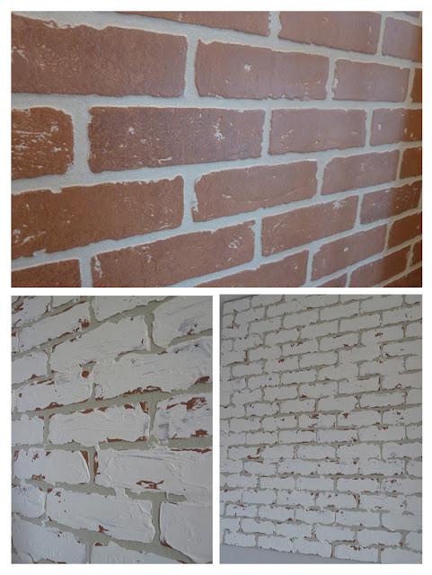 Les bricoles nicole frapper un mur de brique - Peindre cheminee brique rouge ...