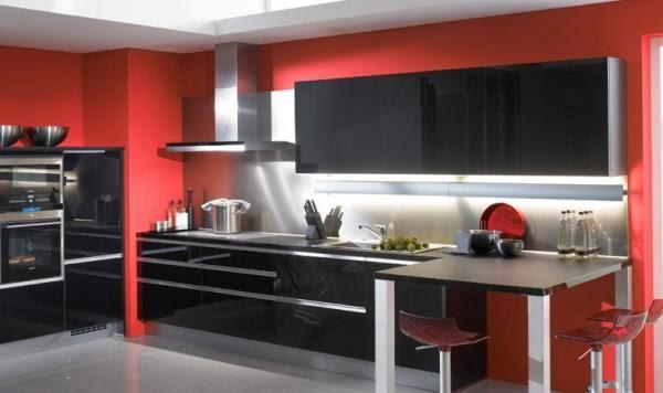 Cocinas integrales modernas en rojo y negro colores en casa - Cocinas color rojo ...