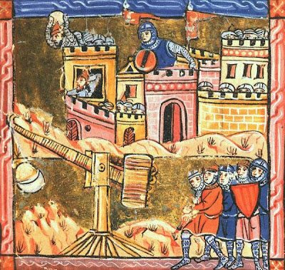 Siege of Acre, 1189-1191, Knights in front of trebuchet