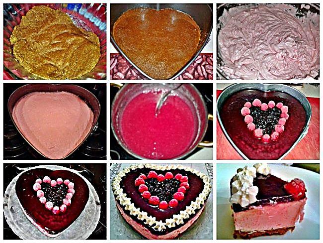 Preparación de la tarta corazón de arándanos