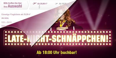 Germanwings-Aktion Late Night Flüge: Von 18 Uhr bis 8 Uhr reduzierte Tickets ab 29,99 Euro