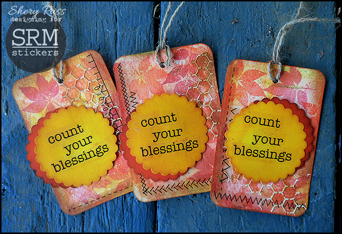 SRM Stickers Blog - Mixed Media Tags & Video by Shery - #fall #tags #mixed media, #stickers #punched pieces #thank you,