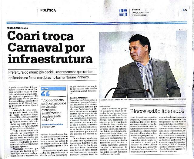 ARTIGO: Prefeitura de Coari está no caminho para superar efeitos da crise