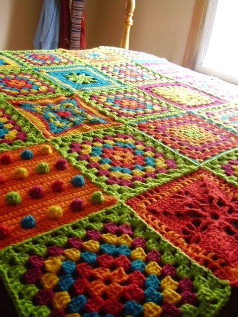 O blog da dmc mantas em croch e tric para o inverno - Aplicaciones de crochet para colchas ...