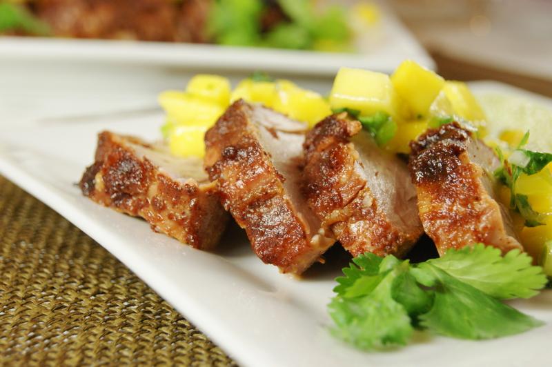 Sweet-&-Spicy Pork Tenderloin with Mango Salsa - The Kitchen is My ...