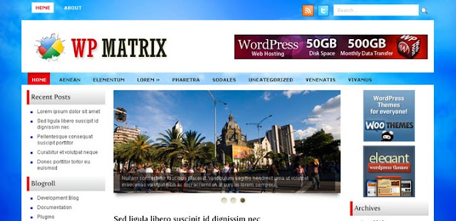 wpmatrix three column free theme 30 Ücretli Ücretsiz WordPress Teması