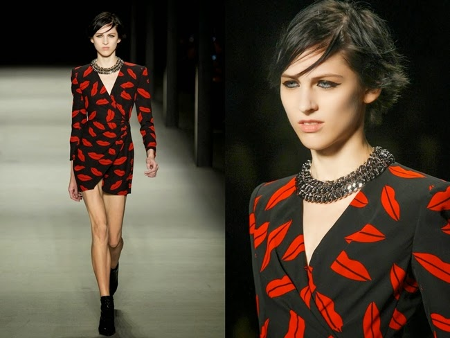 Saint Laurent Spring 2014 Lips Printed Silk Georgette Dress
