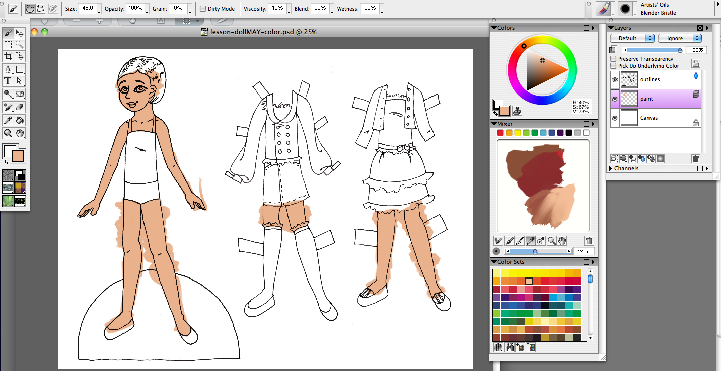 Color lineart in photoshop - I Mixed My Own Skintone In The Mixing Palette And Applied It To The Doll A Lot Of The Same Shortcuts From Photoshop Work Here
