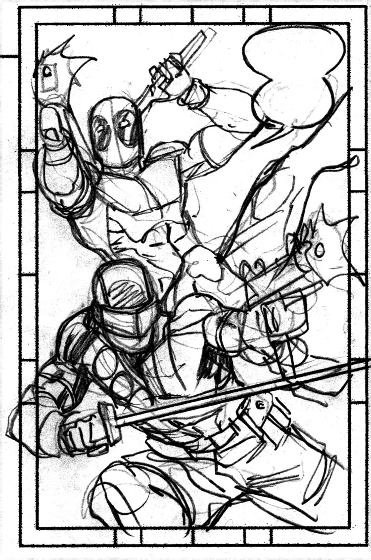 here is the layout and a few progress shots as i went along - Deadpool Coloring Book