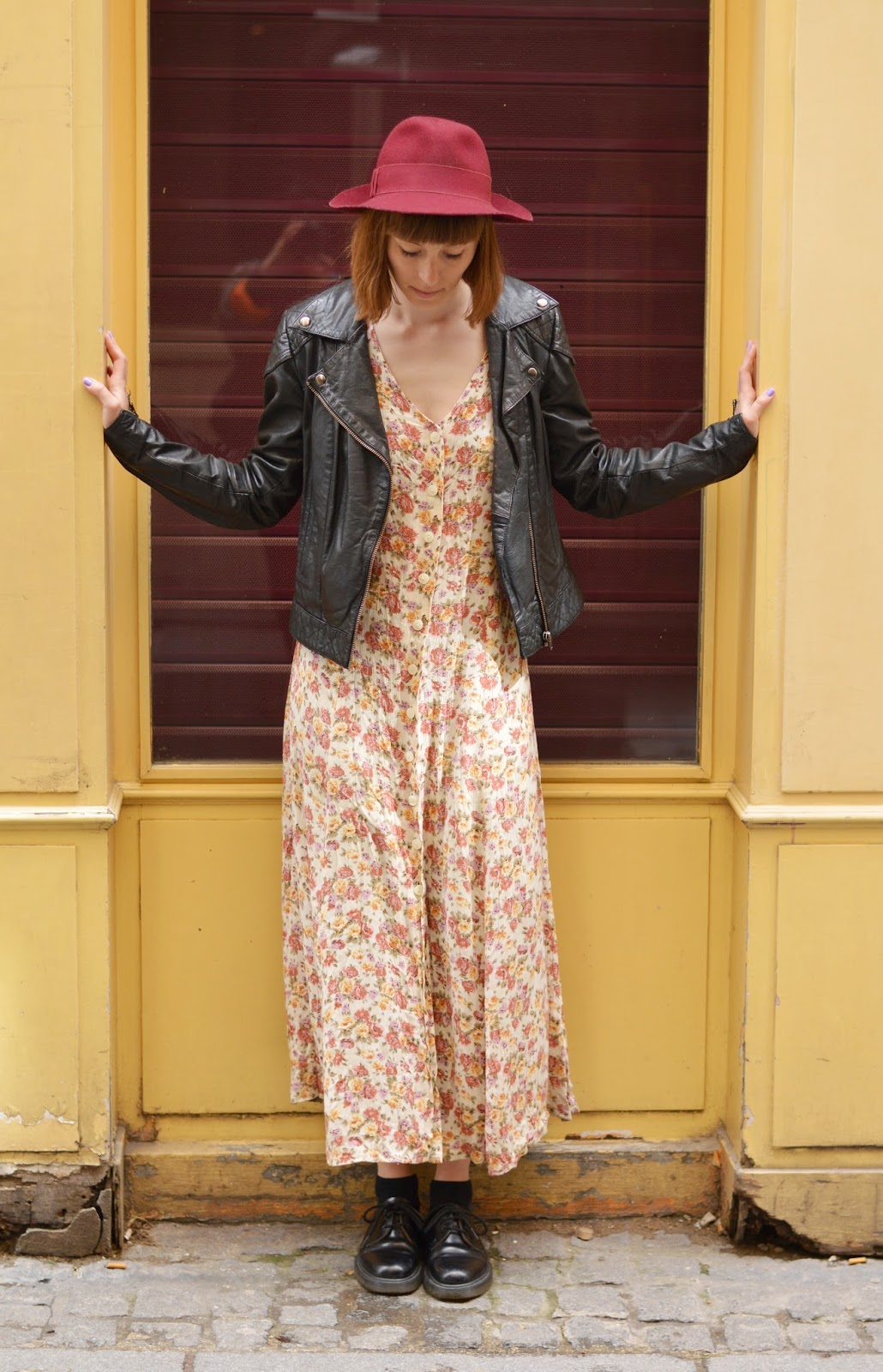 Long floral hippy summer dress with leather jacket