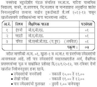 Bhatiya Vidyalaya Dharangaon Job Vacancy 2013