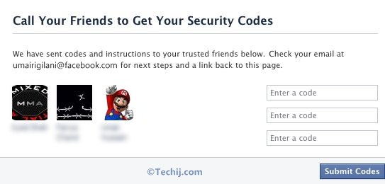 Recover Facebook password via trusted contacts