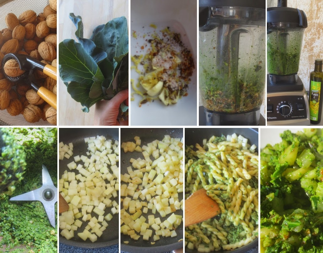 Zubereitung Pasta mit Kohlrabi und Kohlrabigrün-Walnuss-Rapsöl-Pesto