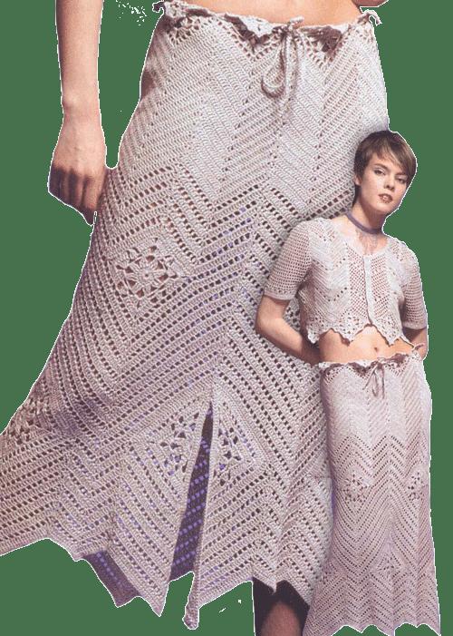 Летняя юбка, связанная крючком из льняной пряжи