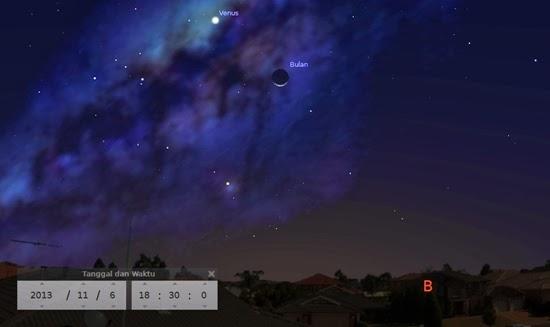 Bulan Sabit dan Venus Menghiasi Langit Senja Ini
