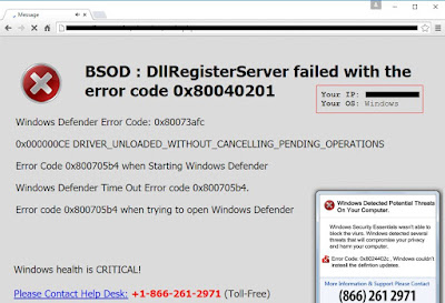 BSOD : DllRegisterServer failed with the error code 0x80040201 pop-up screenshot