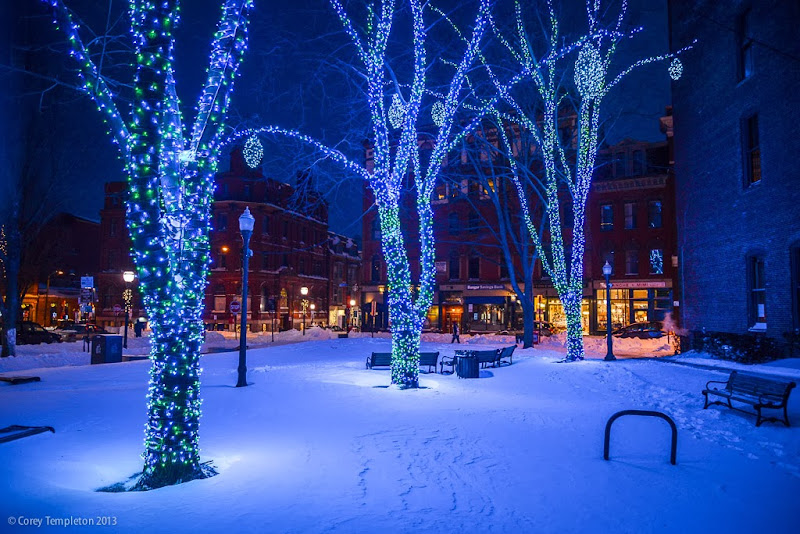 Portland, Maine Tommy's Park Old Port Winter Holiday Lights at  Night photo by Corey Templeton