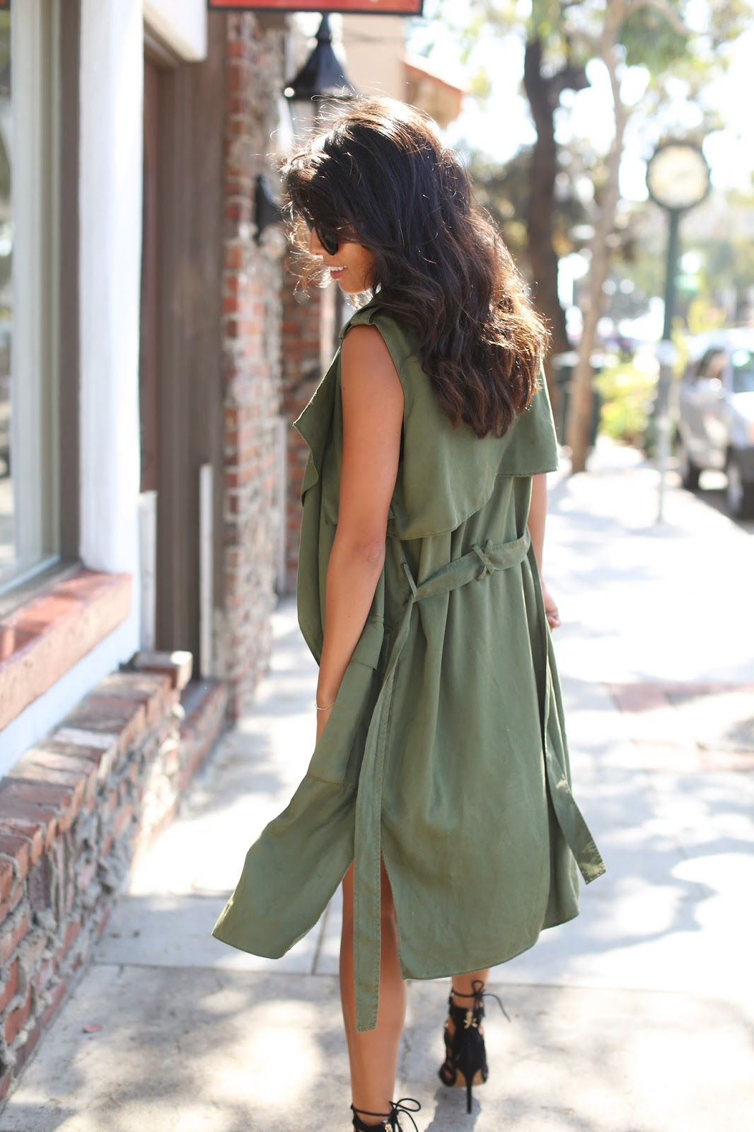 how to wear long vest over dress, zara olive green duster