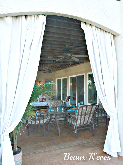 Curtains Ideas cheap patio curtains : Beaux R'eves: No Sew Outdoor Curtains