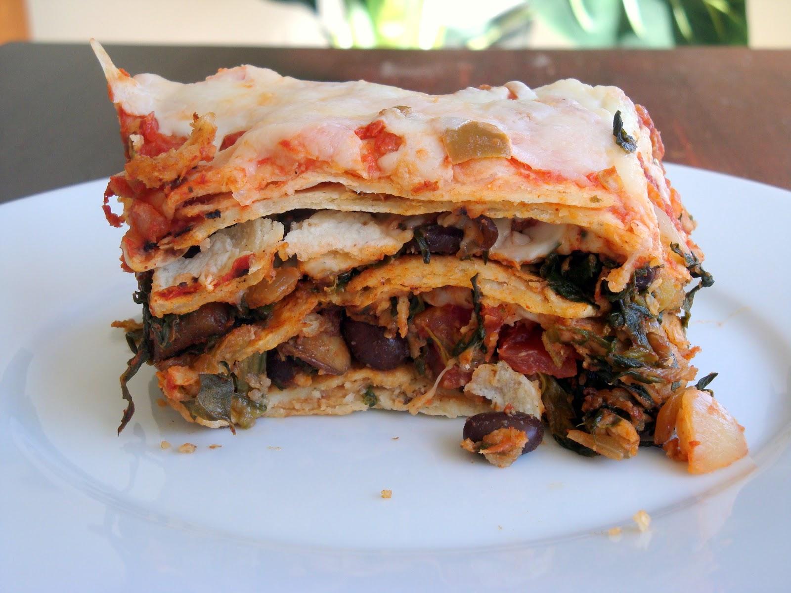 Vegetable and Black Bean Tortilla Casserole - Alida's Kitchen