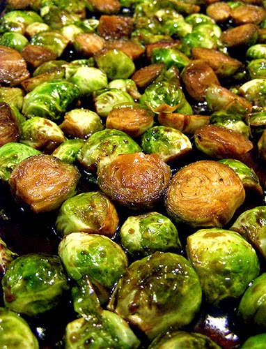 Brussels Sprouts Roasting on Baking Sheet