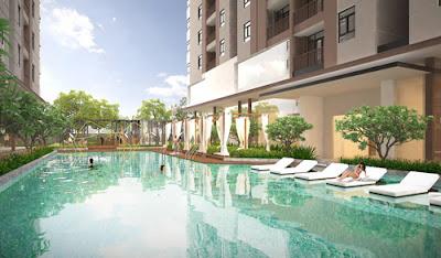 Hồ bơi được thiết kế theo kiểu resort nghỉ dưỡng.