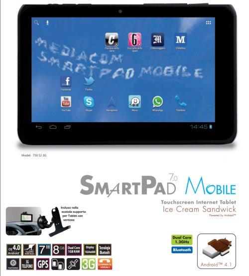 Nuovo tablet con sistema operativo android aggiornabile a Jelly Bean, dual sim e dual core da Mediacom