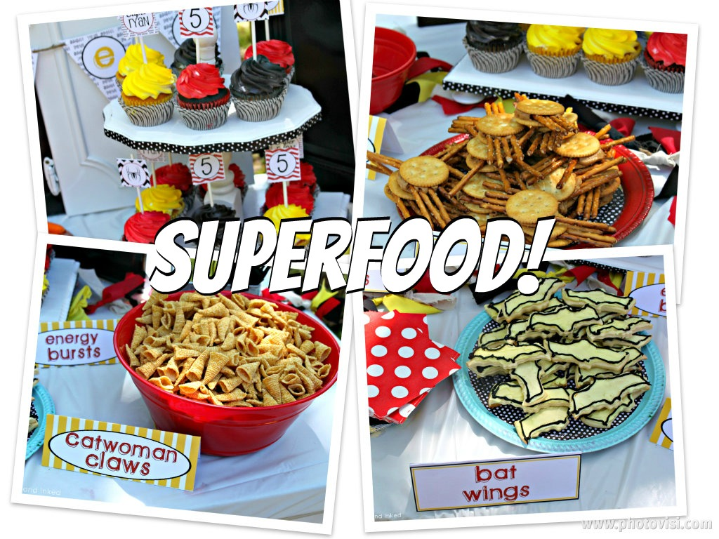 Tattered and Inked Superhero Food Ideas Free Printables