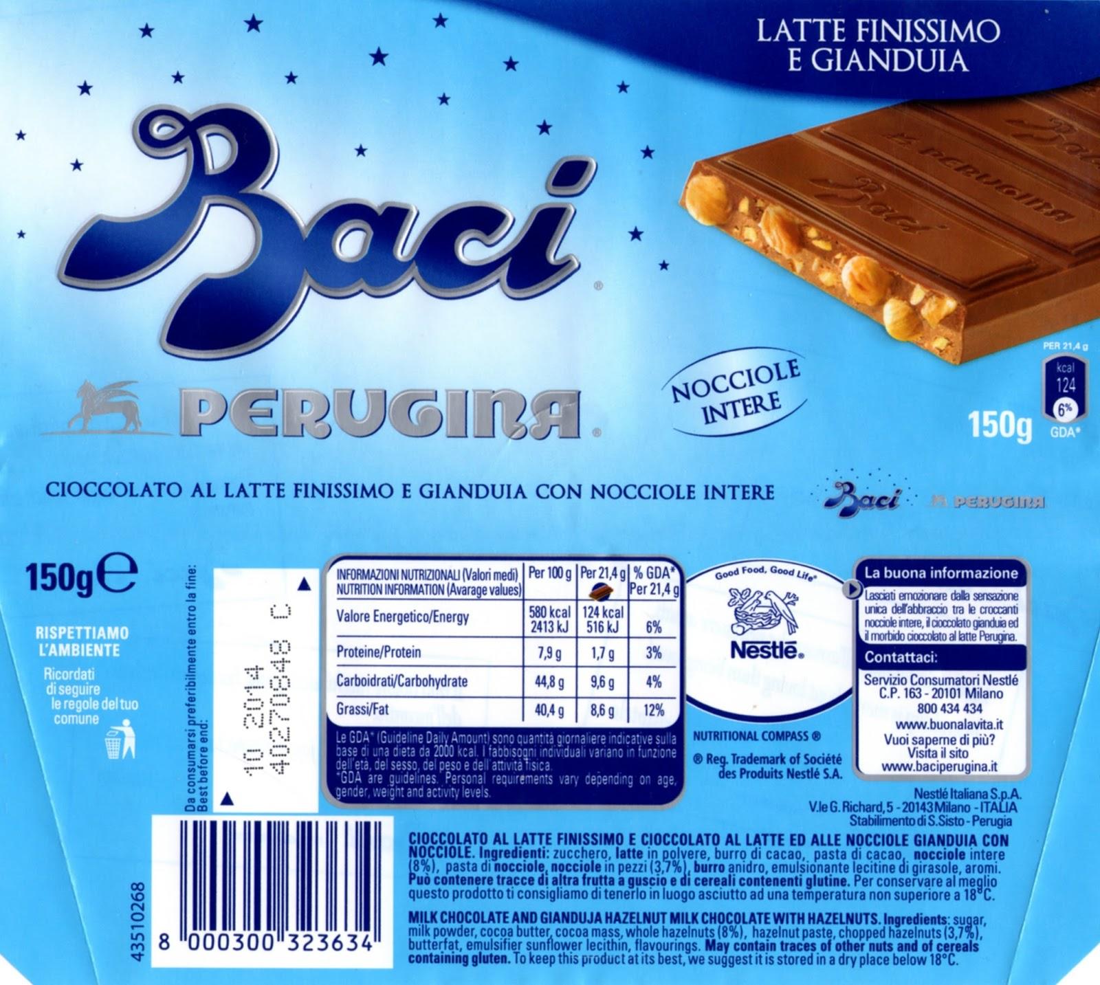 tablette de chocolat lait gourmand nestlé baci latte finissimo e gianduja