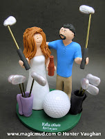 wedding cake topper for a golfing bride and groom