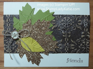 Card made with Stampin'UP!'s leaf die and spider web embossing folder.