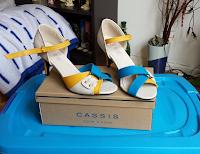 Schuhe, Offene Schuhe, Creme, blau Gleb
